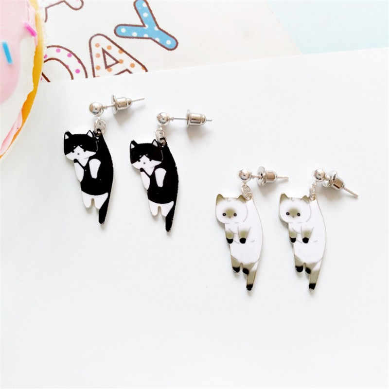 XEDZ Cute Cartoon Animal Black Cat White Cat Student Earrings Fashion Print Ear Clips Gifts for Girls
