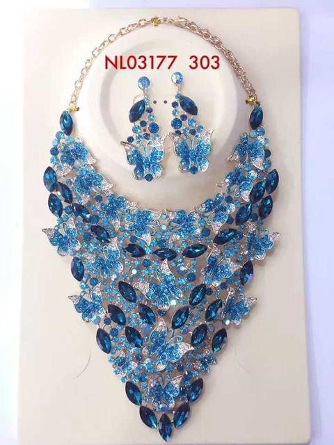 2017 de Alta Calidad de Mosaico de Cristal de La Mariposa Collar Pendientes Conjuntos para Las Mujeres Joyería de La Boda Joyería Nupcial Establece XLN-G001
