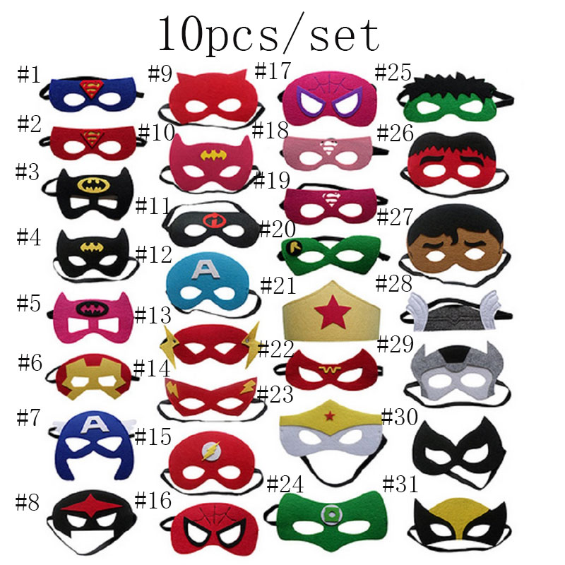 10pcs/set Superhero <font><b>Mask</b></font> Cosplay Superman Batman <font><b>Spiderman</b></font> Hulk Princess Halloween Christmas <font><b>Kids</b></font> Adult Party Costumes <font><b>Masks</b></font>