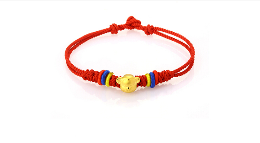 999 24K Yellow gold Monkey Beads Handmade Knitting Bracelet999 24K Yellow gold Monkey Beads Handmade Knitting Bracelet