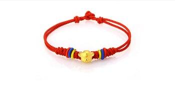 999 24K Yellow gold Monkey Beads Handmade Knitting Bracelet