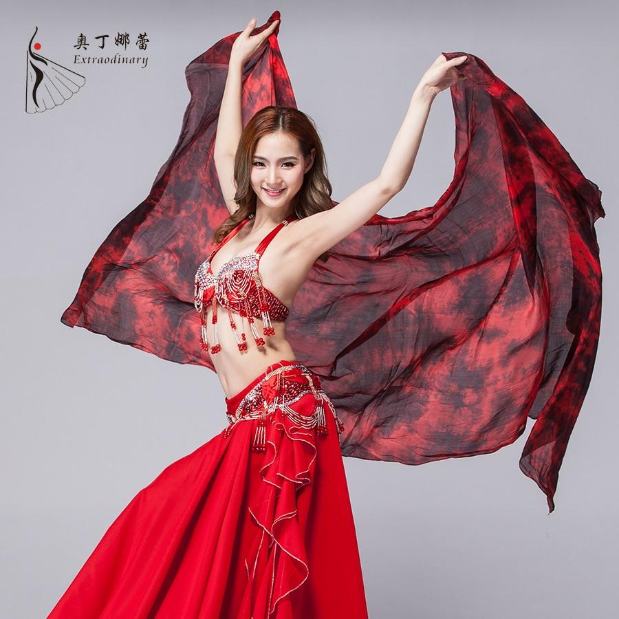 Stage Performance Prop Tie Dye Light Texture 100% Silk Scarf Women Dance Accessories Silk Veil Belly Dance