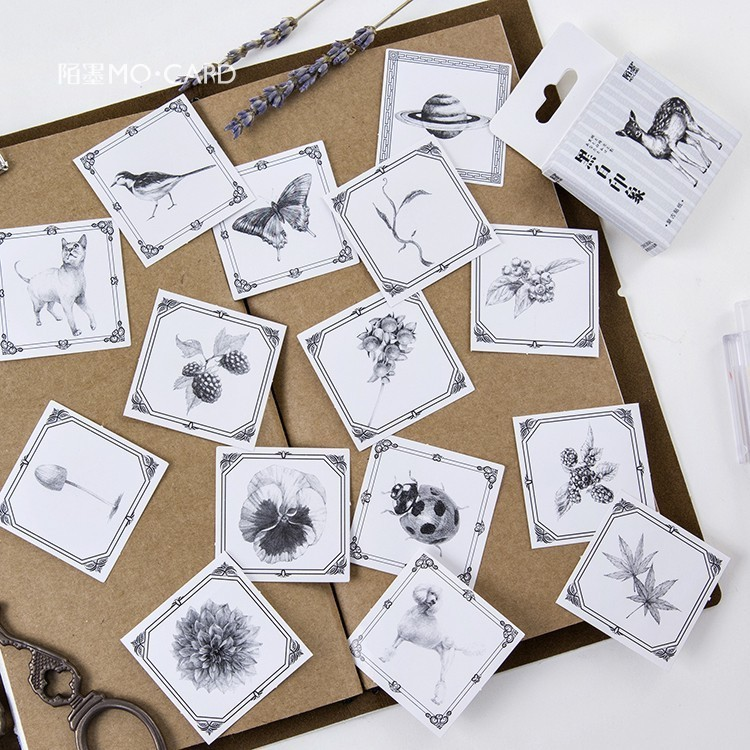 45PCS/box Black White Impression Album Paper Lable Stickers Crafts And Scrapbooking Decorative Lifelog Sticker Lovely Stationery