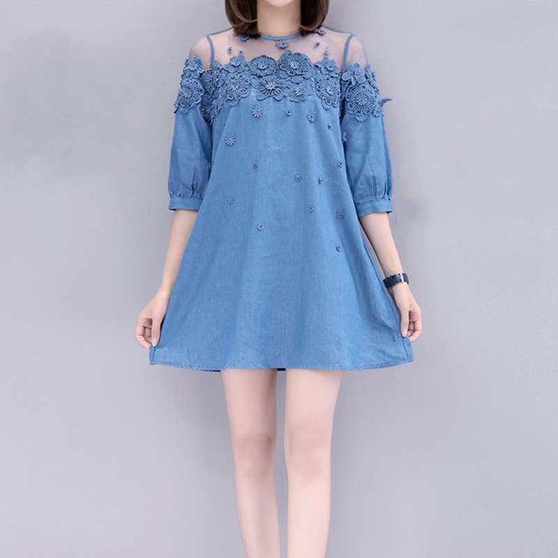 2019 New Big Size Women Clothes Denim Dress 3d Lace Floral Jeans Tunic Mesh Patchwork Plus Size Loose Female Spring Half Sleeves Special Summer Sale Women's Clothing