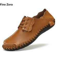 Fine Zero Man big size 46 47 Business Shoes Cowhide Split Leather Male Soft handmade driving Oxford Summer Style Men dress flats