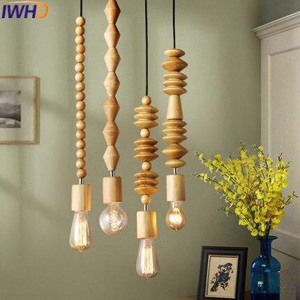 IWHD Wood Hanging Lights Modern Bedroom HangLamp Luminaire Fashion Kitchen Lighting Fixtures Pendant Lights Lampara Lampen цена