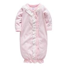 Kavkas/одежда для сна для малышей хлопковая розовая одежда с длинными рукавами и круглым вырезом на пуговицах для маленьких девочек комбинезоны для новорожденных, 3, 6, 9, Roupa De Bebes
