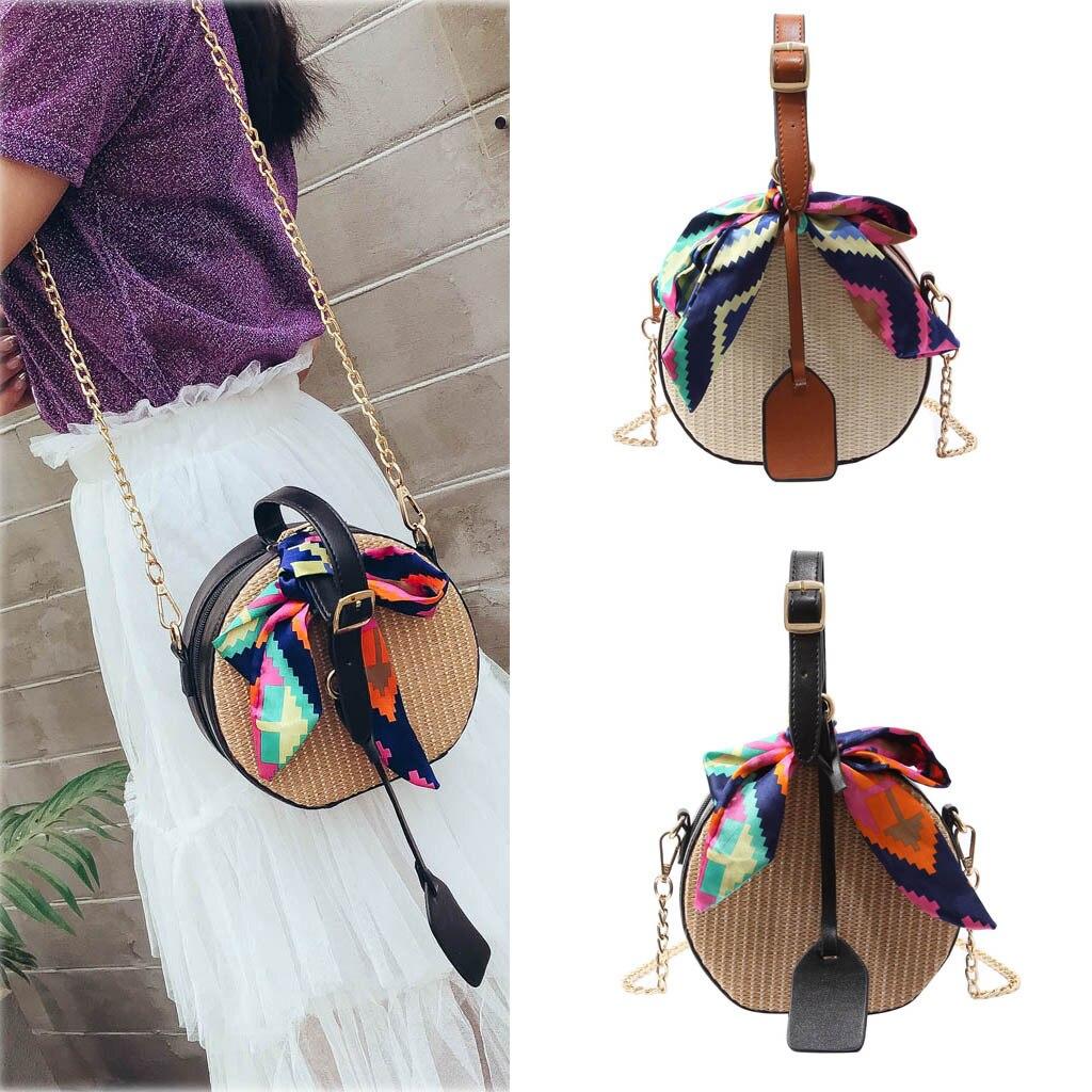 Bali Round Handmade Bags Women's Fashion Color Ribbon Straw Bag Saddle Shoulder Bags For Women Messenger Handbag#5%