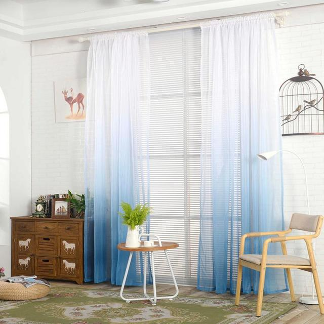 Gradient Sheer Curtain Tulle Window Treatment Voile Drape Valance 1 Panel  Fabric