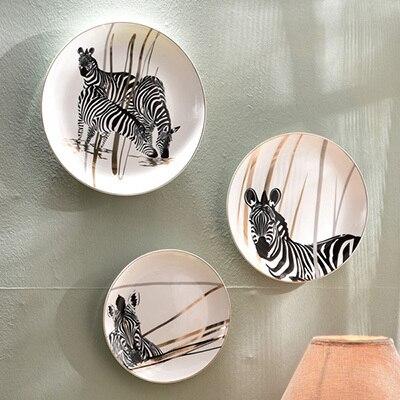 Moderne zèbre décoratif mur plats assiettes décoratives en ...