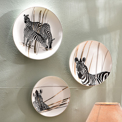Modern Zebra Decorative Wall Dishes Porcelain Plates Vintage Home Decor Crafts Room Decoration Figurine In Bowls From Garden On
