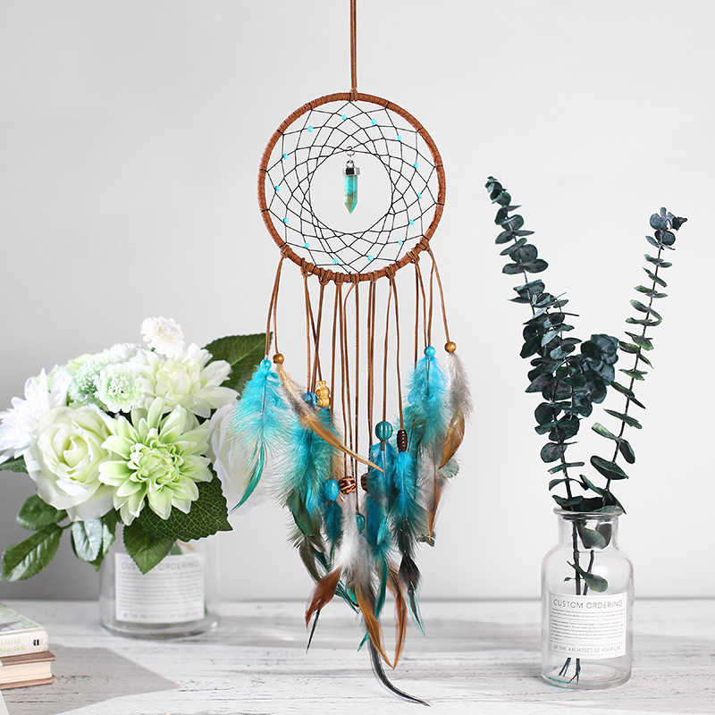 New Emerald Wind Chime Charm Feather Dreamcatcher Bedroom Living Room Wall Decoration Creative Handmade Pendant Crafts-60238