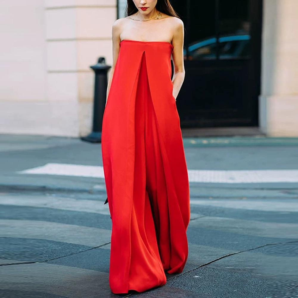 Women Loose   Jumpsuits   Casual Solid Rompers Cold Shoulder Splice Loose Wide Leg Pant   Jumpsuits   Fashion England Style   Jumpsuits