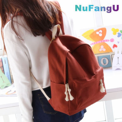 Simple fresh design pure color canvas girls backpack fashion leisure bag middle school student book bag travel bag pretty style pure color canvas women backpack college student school book bag leisure backpack travel bag