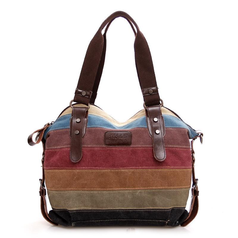Women Canvas bagfashion tote striped stitching hit color womens handbags retro shoulder diagonal portable female large bag