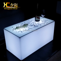 LED Bar Table Plastic Luminous Furniture Wine Club Party Drinking Table For Living Room Dining Room