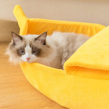 Banana Cat Dog Bed House Cozy Cute Puppy Cushion Kennel Warm Portable Pet Basket Supplies Mat Beds For Cats Kittens H3