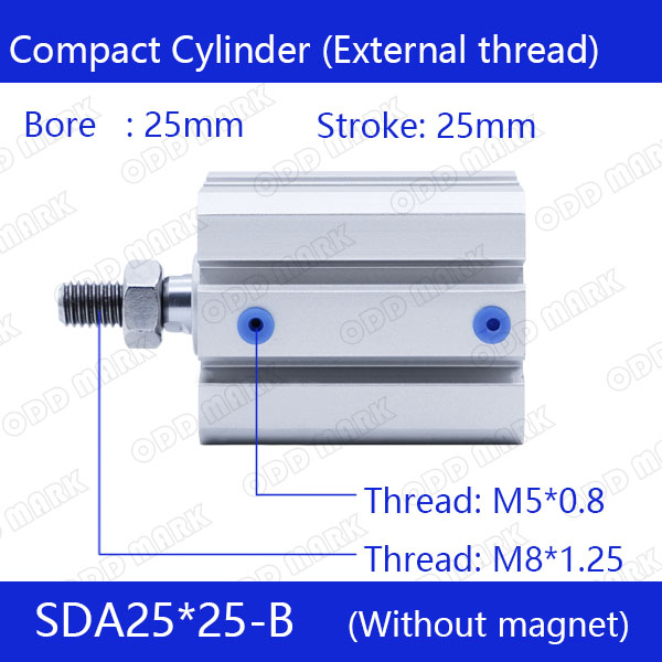 SDA25*25-B Free shipping 25mm Bore 25mm Stroke External thread Compact Air Cylinders  Dual Action Air Pneumatic Cylinder free shipping 25mm bore 25mm stroke pneumatic compact cylinder sda 25x25 aluminum alloy air cylinders