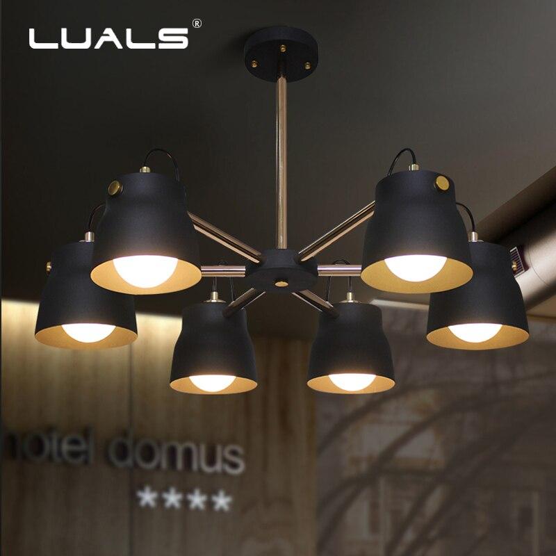 LUALS Nordic Pendant Lamps Retro Pendant Lights Simple Iron Lamp Shade Suspension Luminaire Art Deco Lighting Led Hanging Light|art deco lighting|pendant lights|hanging lights - title=