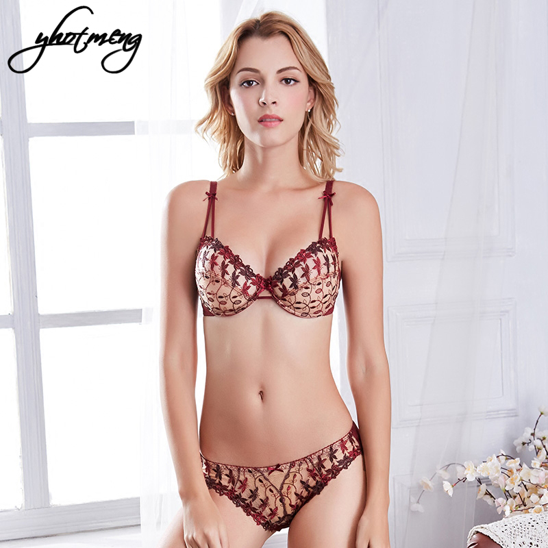 Yhotmeng Retro breathable embroidery lace bra transparent set without sponge ladys sexy lingerie