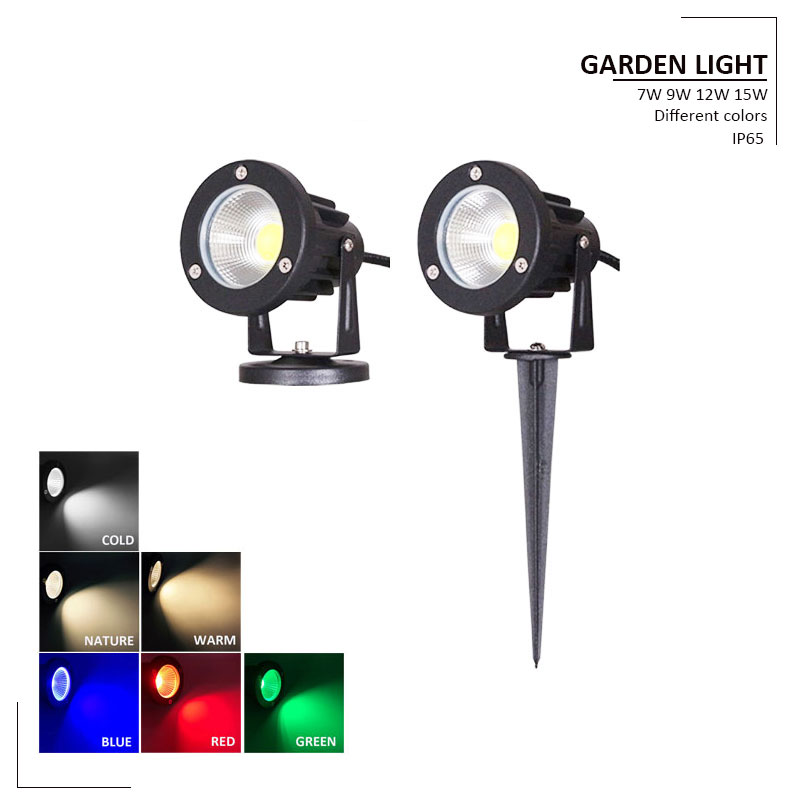 7w 9w 12w 15w 12V 220V Outdoor Garden Lamp LED Lawn Light COB LED Spike Lamp Waterproof Pond Path Landscape Spot Lights Bulbs