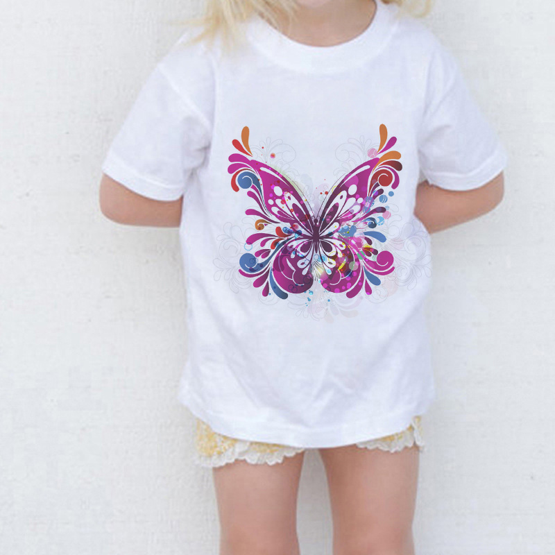 New Arrival Summer Fashion Girls Tops Vintage Butterfly <font><b>Animal</b></font> Print Kawaii Girls <font><b>Tshirt</b></font> Casual O-Neck Short Sleeve Girls Shirts image