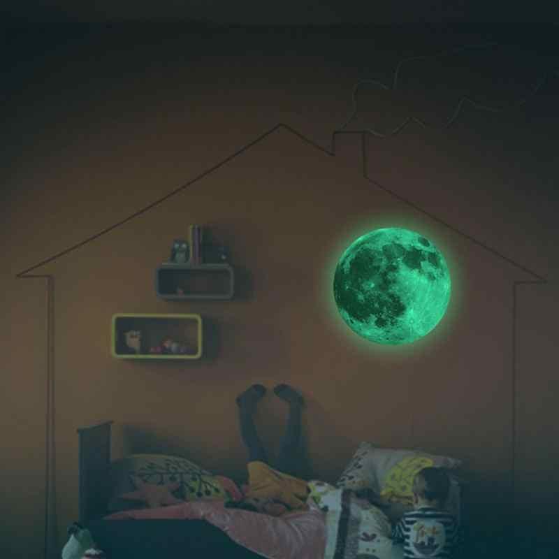 PVC القمر ملصقا السوبر مشرق بريق ملصقات جدار للأطفال غرفة مضيئة ضوء القمر الفلورسنت هدايا ديكور غرفة نوم