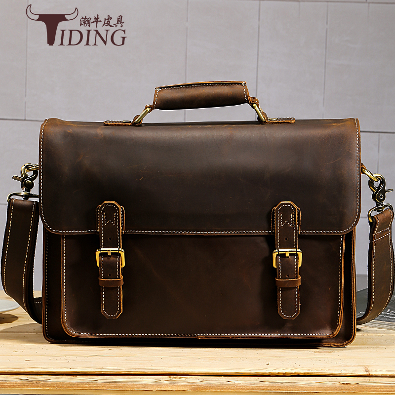 Men Vintage Handbags Cow Leather 2017new Business Man Casual Fashion Dress Brand Briefcases Brown Genuine Leather 15