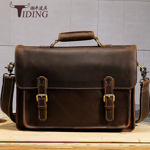 """men vintage handbags cow leather 2017new business man casual fashion dress brand briefcases brown genuine leather 15"""" laptop bag"""