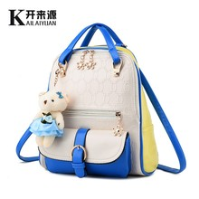 KLY 100% Genuine leather Women bags 2016 New Fashionista Backpack New Spring and summer student fashion color Korean women