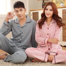 Couple pajamas Spring And Autumn Lovers Sleepwear Long-sleeve 100% Cotton Pyjamas Men Polka Dot Sleep Lounge Pajama Set Women
