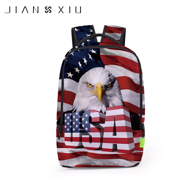 JIANXIU American Flag Printing School Bags Backpacks European Cartoon Kids Students Schoolbags Mochila Student Children Bookbag