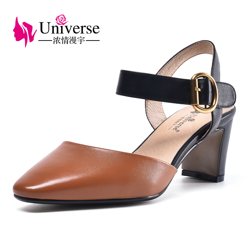 Universe retro style ladies shoes sandals women 2018 cow leather upper buckle strap summer sandals H071