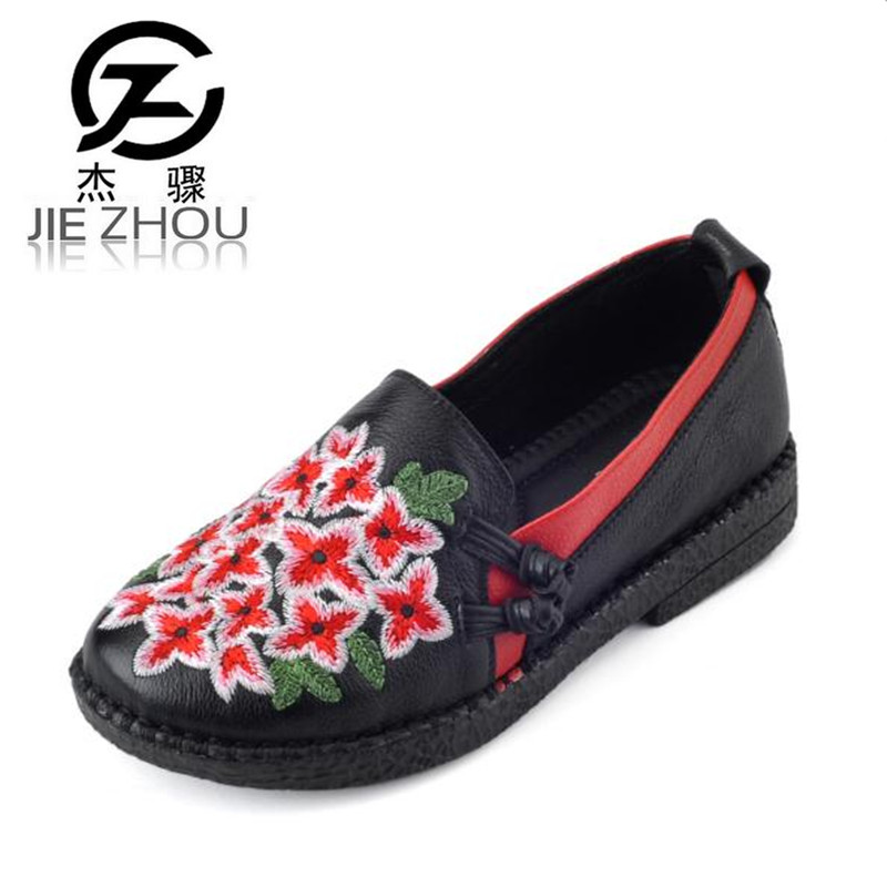 2018 spring leather handmade retro embroidery round head soft bottom mother shoes Red Black ethnic style Flat Women shoes large yards soft bottom flat ballerina shoes retro embroidery women shoes comfortable soft bottom casual shoes female ayakkab