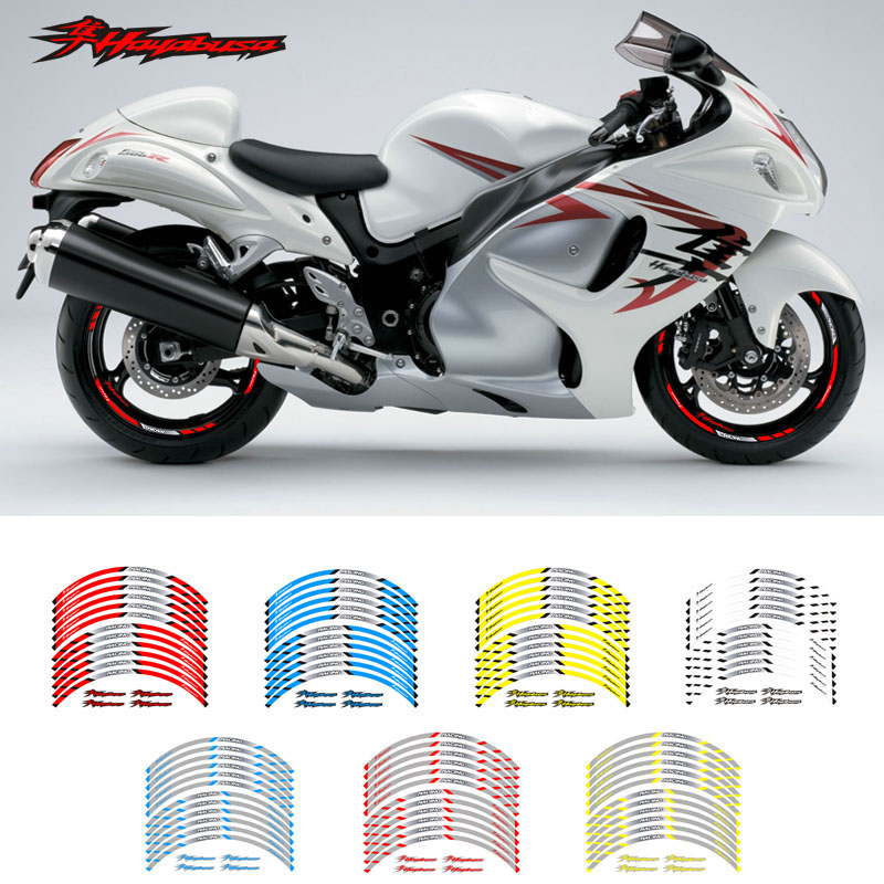 New High Quality 12 Pcs Fit Motorcycle Wheel Sticker Stripe Reflective Rim For Suzuki Hayabusa