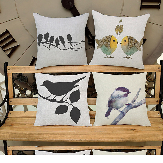 Black White Birds Pillows Decorative Square Cotton Linen Cushion Cover Home Decoration Pillow Couch Pillowcases For Car