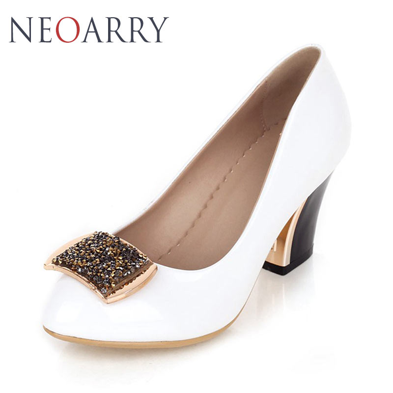 32 2018 white Talon Dames Rinestones Bout Grande Black Ol Taille 43 Chaussures Pompes Shinign Neoarry Lt508 Épais red Femmes Rond SWHgCgF8