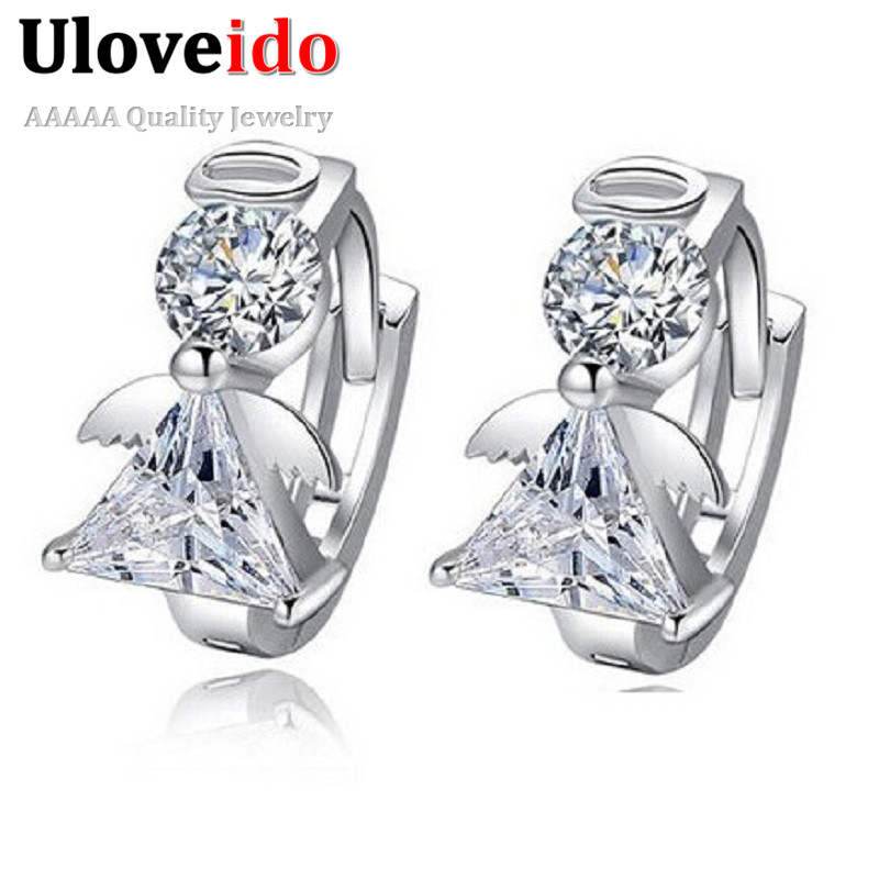 Uloveido Angel Stud Earring Earings Fashion 925 Sterling Silver Crystal Earrings for Women Nickel Free Wholesale Jewelry DML51
