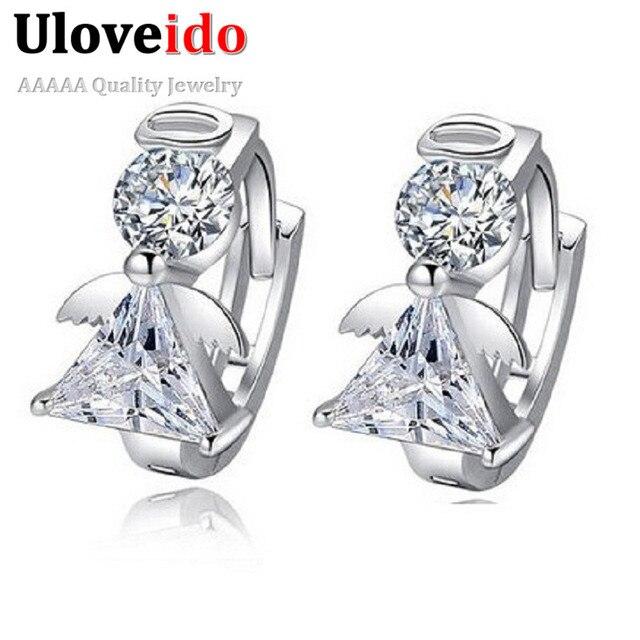 Uloveido Angel Stud Earring Earings Fashion 925 Sterling Silver Crystal Earrings for Women Nickel Free Wholesale Jewelry DML51