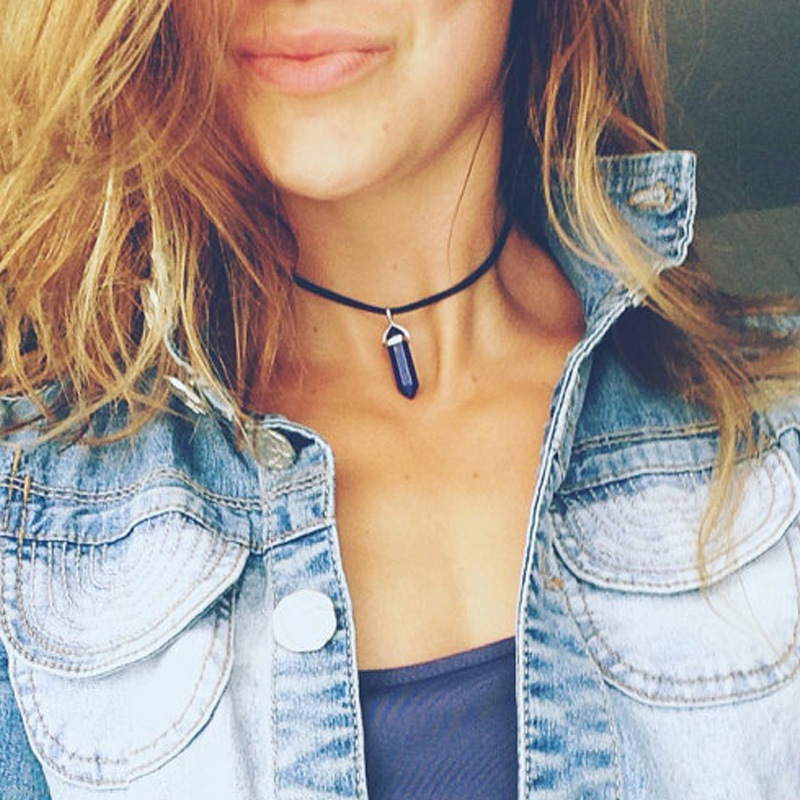 Original New Hexagonal Column Stone Necklaces Women PU Leather Choker Crystal Pendant Necklace Female Jewelry Party Wedding Gift