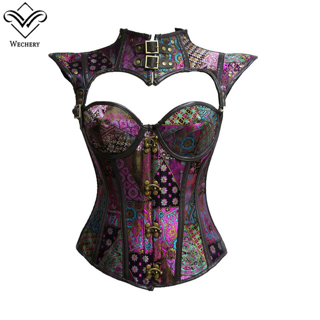 Wechery Women Steampunk Corset Sexy Vintage Gothic Corselet Lace Up Button  Bustier Korset Posture Vest Hollow fd5ab11ab