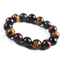 2018 Newly Natural Colorful Tiger's Eye Gems Stone Round Beads Healing Bracelet 14mm Fashion Stone Bracelet For Men Women