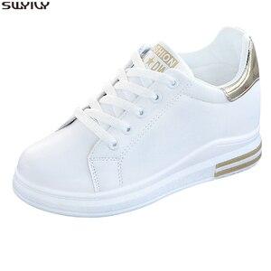 Image 2 - SWYIVY, zapatos informales de microfibra, zapatillas de deporte para mujer, zapatos blancos, zapatillas de plataforma de primavera 2020 para mujer, nuevos zapatos de mujer