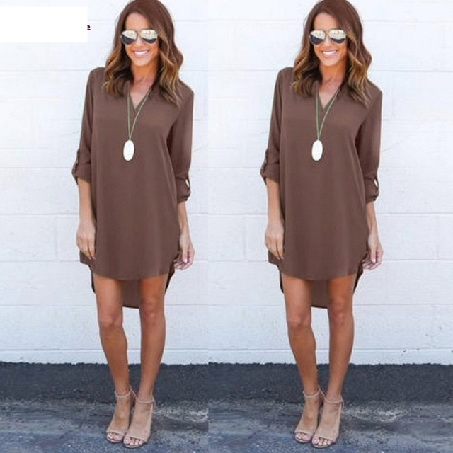 Women Blouse Chiffon Long Sleeve T Shirt Casual Dress Tops  F20