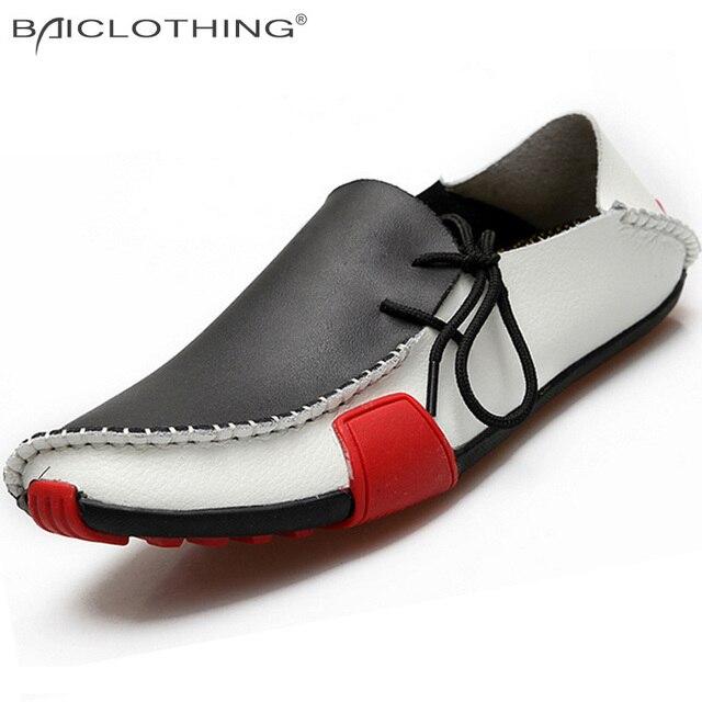 Мужчины Обувь Из Натуральной Кожи 2015 Проезда Мокасины Мужская Повседневная Обувь Лодка Мокасины Дышащий Квартиры Сращивание Ленивый Обувь