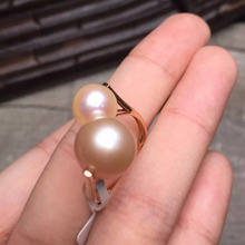10.6mm and 8.3mm 12.8ct  gold 1.85g fine jewelry 18k rose gold natural Edison pink pearl ring