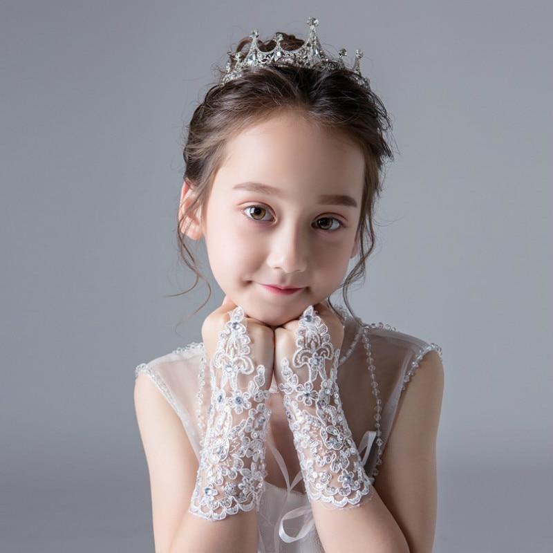 Girls Princess Gloves Girls Dress Glove Lace Diamond Performance Photography Costume Wedding Accessories For Kids Birthday Gift