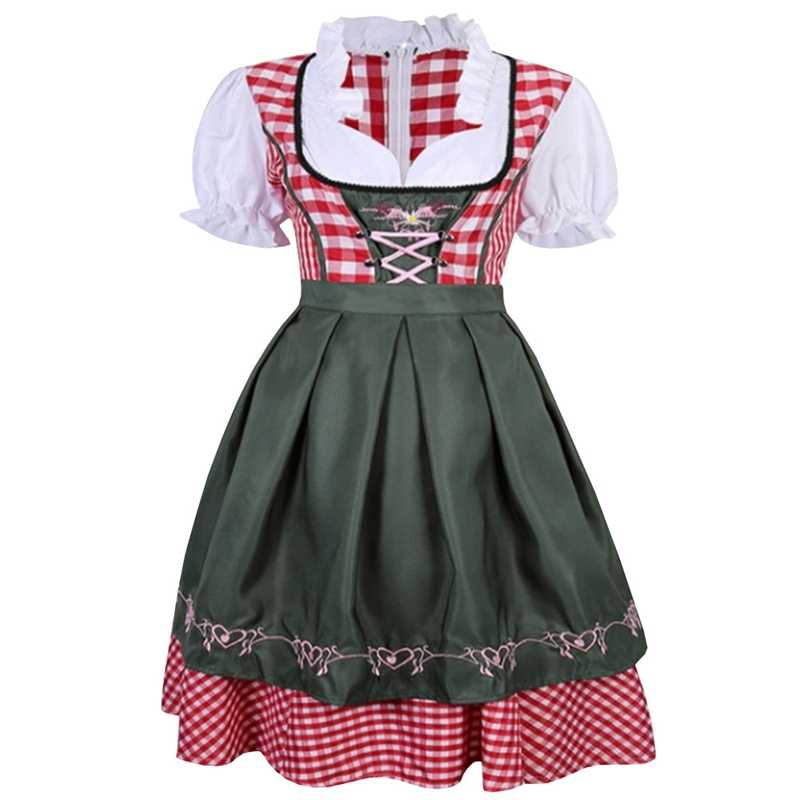 2018 Hot Sale Woman Germany Tradition Costume Oktoberfest Beer Girl Bavarian Dirndl Dress With Apron S-XL