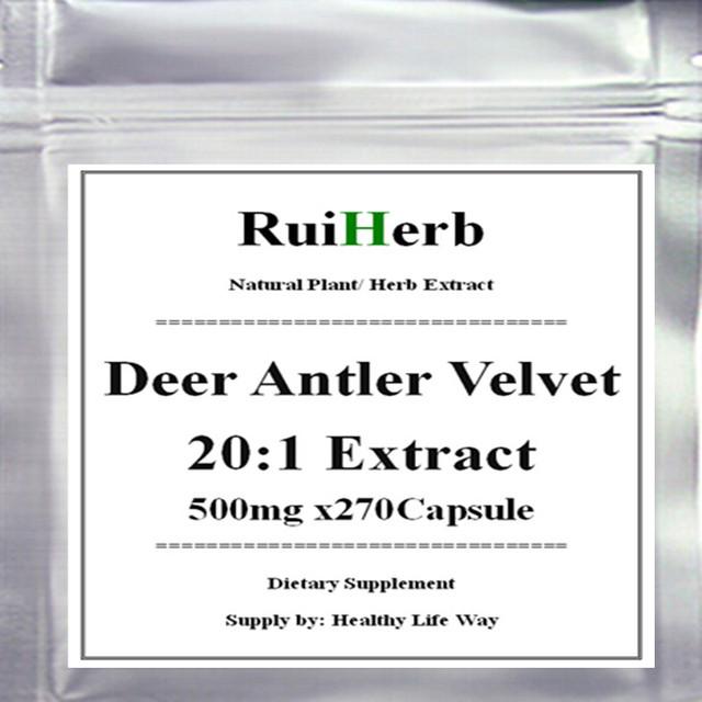 1 Pack Deer Antler Veludo Puro 20:1 Extrato Da Cápsula 500 mg x 270 pcs frete grátis