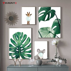 Image 2 - Cartoon Ballon Tiere Poster Druckt Moderne Green Leaf Leinwand Malerei Auf Die Wand Giraffe Koala Nordic Kunst Bilder Home Deco